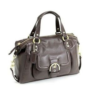 COACH Campbell Leather Satchel in Brass/Mahogany